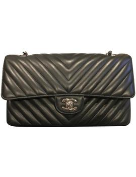 Classic Medium Double Flap Chevron Black With Silver Hardware Lambskin Shoulder Bag by Chanel