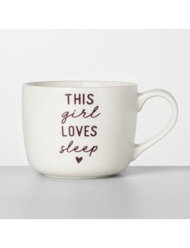 14oz Porcelain This Girl Loves Sleep Mug White/Purple   Opalhouse™ by Opalhouse