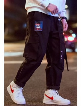 Black Harem Style Cargo Pants With Embroidery Patch by Blvck Outlet