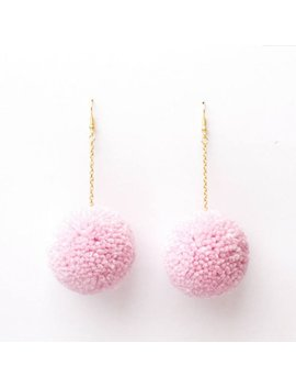 Pastel Pink Pom Pom Earrings by Etsy
