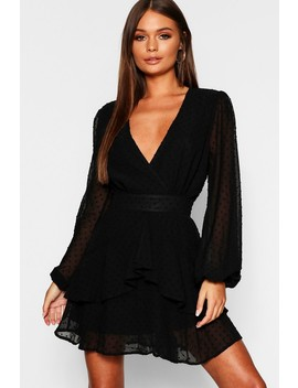 Ruffle Hem Dobby Chiffon Mini Dress by Boohoo