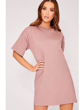 Cyndi Dusky Pink Basic Oversized T Shirt by In The Style
