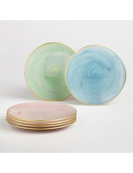 Gold Rimmed Glass Dessert Plates 4 Pack by World Market