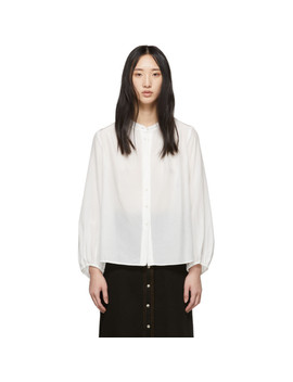 White Shirred Bell Blouse by Raquel Allegra