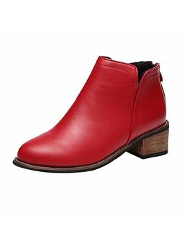 Sale!!! Women Shoes❤Bluestercool❤ Ladies Womens Block Chunky Heels Chelsea Ankle Boots Grip Sole Black Red Gray Office Shoes Thick Heel Lady Boots by ❤Bluestercool❤
