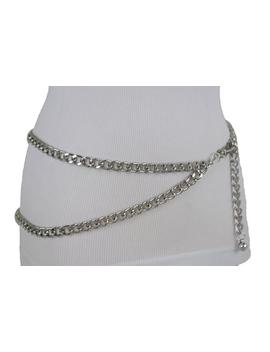 New Women Silver Thick Metal Chunky Chain Link Fashion Belt Side Wave 2 Strands Hip High Waist Size Xs S M L Xl by Etsy