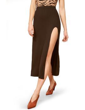 Runyon Side Slit Midi Skirt by Reformation
