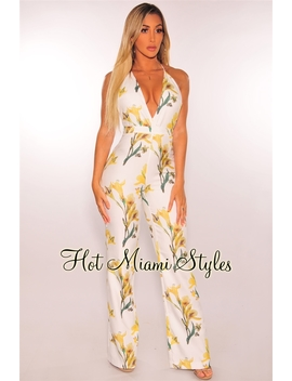 White Yellow Floral Halter Palazzo Jumpsuit by Hot Miami Style