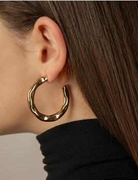 Oversize Hammered Gold Hoops by Pixie Market