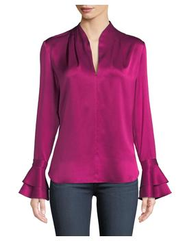 Judith Long Sleeve Silk Blouse W/ Tiered Cuffs by Elie Tahari