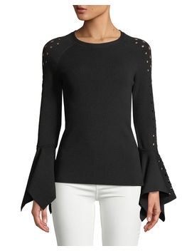 Naaz Perforated Sleeve Sweater by Elie Tahari