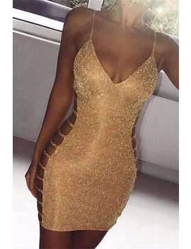 Glitter Side Hollow Out Strappy Dress by Lupsona