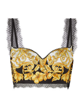 Lace Trimmed Printed Silk Twill Bustier Top by Versace