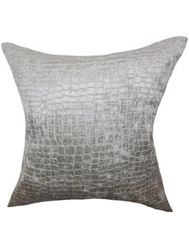 Jensine Solid Silver Down Filled Throw Pillow by The Pillow Collection