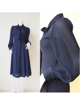 Vintage Japanese Day Dress, Navy Blue Dress, Chiffon Dress/ Size Small by Etsy