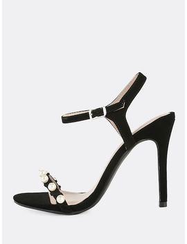 Nubuck Pearl Ankle Strap Heels Black by Sheinside
