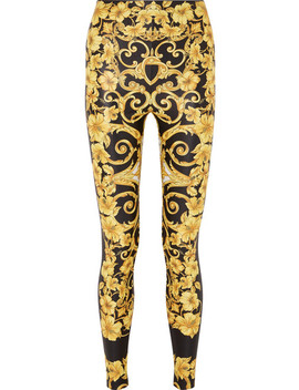 Printed Stretch Jersey Leggings by Versace
