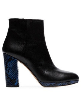 Black And Blue Toi 100 Ankle Boots by Kalda
