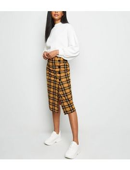 Yellow Check Button Side Pencil Skirt by New Look