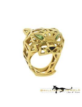 Cartier Panthère De Cartier Lg. Ring W/ Tsavorite Garnet & Black Onyx, Cert by Cartier
