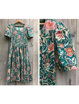 Vintage Dress | 1980 Dress, Laura Ashley Style Dress, Romantic Dress, Floral Dress, Puff Sleeve Dress, Cotton Dress, Fit And Flare Dress by Etsy