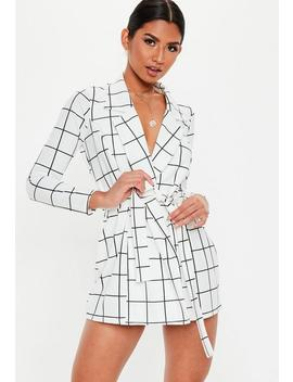 Petite White Grid Print Blazer Dress by Missguided
