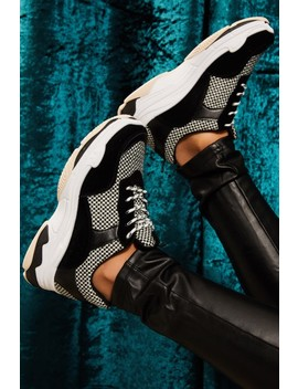 Anna Black Checked Suede Panel Trainers by Misspap