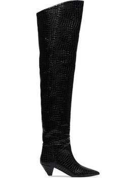 Black Crocodile Print 45 Leather Over The Knee Boots by Attico