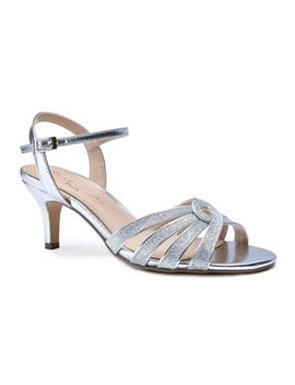 Pink By Paradox London   Silver Glitter 'merle' Mid Heel Stiletto Ankle Strap Sandals by Pink By Paradox London