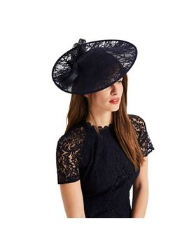 Phase Eight   Navy Demi Lace Disc Fascinator by Phase Eight