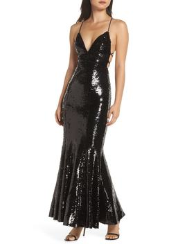 The Auden Sequin Embellished Gown by Fame And Partners