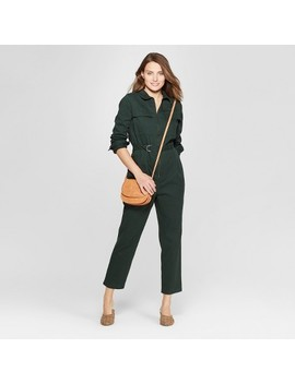 Women's Long Sleeve Structured Jumpsuit   Universal Thread™ Green by Universal Thread