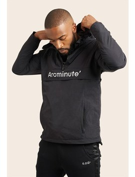 Black Windbreaker 1/4 Zip  With Front Logo by Arcminute