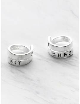 Letter Pattern Wrap Around Ring Pack 2pcs by Sheinside
