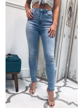 Zoe Light Wash High Waisted Skinny Jeans by Misspap
