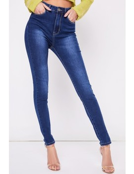 Kelly Dark Blue High Waisted Skinny Jeans by Misspap