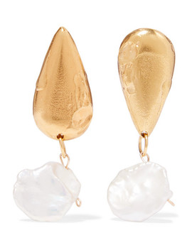 The Fear And The Desire Gold Plated Pearl Earrings by Alighieri