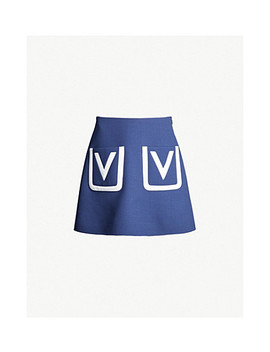 Logo Pocket Crepe Skirt by Valentino
