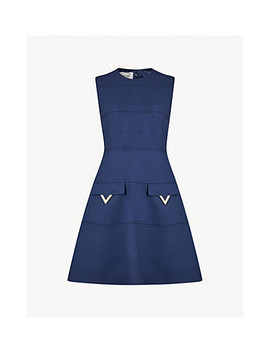 Logo Pocket Wool Crepe Mini Dress by Valentino