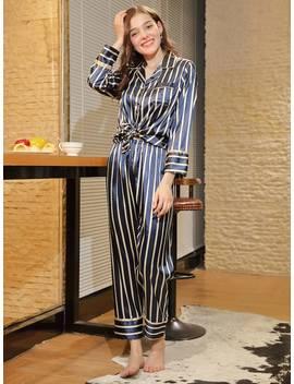 Striped Knot Hem Pajama Set by Shein