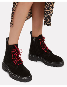 Red Lace Up Combat Boots by Proenza Schouler