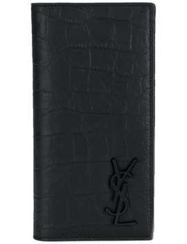 Crocodile Embossed Card Holder by Saint Laurent