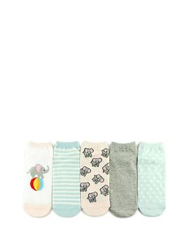 Elephant Graphic Ankle Socks   5 Pack by Forever 21