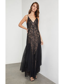 Embroidered Scrolling Lace Gown by Bcbgmaxazria