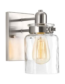 Calhoun Collection 1 Light Brushed Nickel Bath Sconce With Clear Glass Shade by Progress Lighting