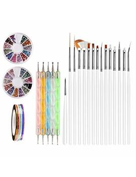 Nail Art Brushes, Teenitor 3d Nail Art Paiting Polish Design Kit With 15 Nail Gel Brushes, Nail Dotting Pen 5pcs, 12 Colors Nail Rinestones & 10 Adhesive Nail Striping Tape For... by Teenitor
