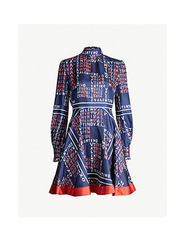 Logo Print Silk Twill Mini Dress by Valentino