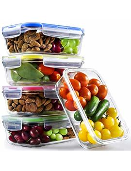 Glass Container With Lid   840ml, 5 Pack 1 Compartment Glass Food Containers   Glass Meal Prep Containers   Oven, Microwave, Freezer, Dishwasher Safe by Chef Fresh Packs