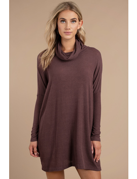 Emery Plum Cowl Neck Shift Dress by Tobi