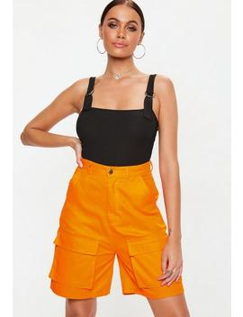 Black Buckle Strap Ribbed Bodysuit by Missguided